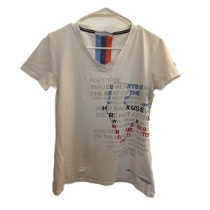 BMW White V-Neck Shortsleeve Shirt!